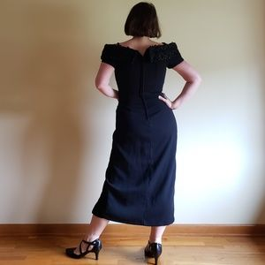 Vintage Dresses - 80's Off Shoulder/High Slit Cocktail Dress - 8/10